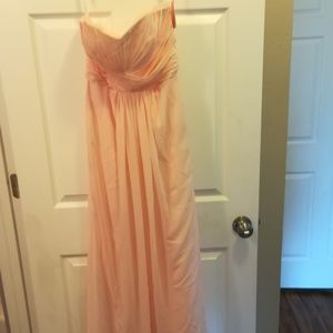 Peach Color Lined Strapless Gown Size 2